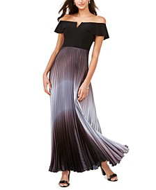 Petite Ombré Off-The-Shoulder Gown