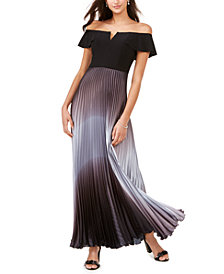 Betsy & Adam Off-The-Shoulder Ombré Gown
