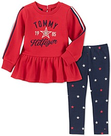 Toddler Girls Peplum Sweater & Printed Leggings Set