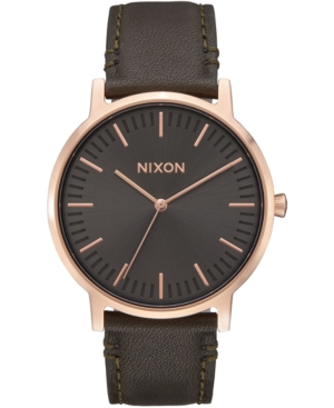 Nixon Watches MEN'S PORTER LEATHER STRAP WATCH 40MM
