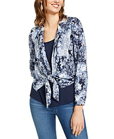 INC Layered-Look Tie-Front Top, Created For Macy's