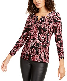 Embellished Neck Printed Top, Created for Macy's