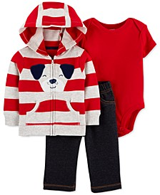 Baby Boys 3-Pc. Cotton Dog Hoodie, Bodysuit & Denim Pants Set