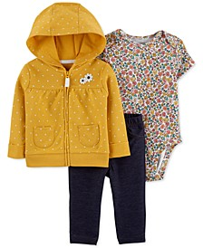 Baby Girls 3-Pc. Dot-Print Hoodie, Floral-Print Bodysuit & Denim Pants Set