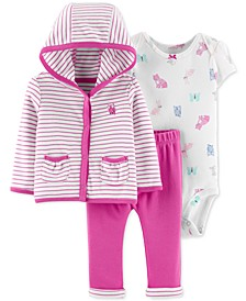 Baby Girls 3-Pc. Cotton Striped Hoodie, Printed Bodysuit & Pants Set