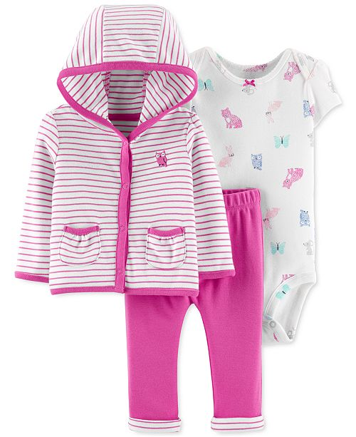 Carter's Baby Girls 3-Pc. Cotton Striped Hoodie, Printed Bodysuit & Pants Set