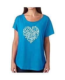 Women's Dolman Cut Word Art Shirt - Love