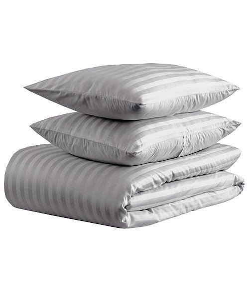 EnvioHome 500 thread count Damask Stripe Duvet Set, Full/Queen