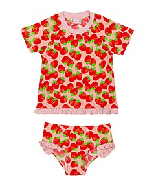 Toddler Girl Strawberry Rash Guard Two Piece Set