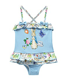 Toddler Girls Scrapbook Print X-Back Skirted One Piece Swimsuit