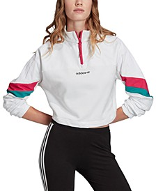 Women's Cotton Colorblocked Half-Zip Cropped Top