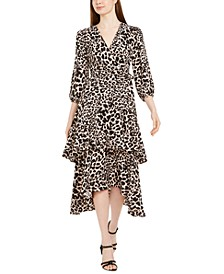 Animal-Print Surplice Tiered Dress