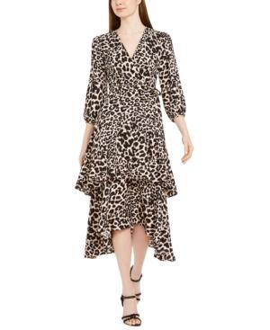 Calvin Klein Animal-Print Surplice Tiered Dress