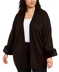 Plus Size Faux-Fur-Cuff Open-Front Cardigan