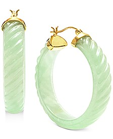"""Dyed Jade (8 x 38mm) Medium Hoop Earrings in 14k Gold-Plated Sterling Silver, 1.5"""""""