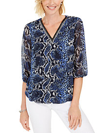 JM Collection Petite Snake-Embossed Bubble Top, Created for Macy's
