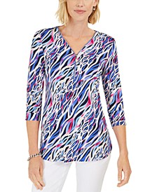 Printed Zip-Front Top, Created For Macy's