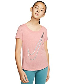 Big Girls Cotton Swoosh-Print T-Shirt
