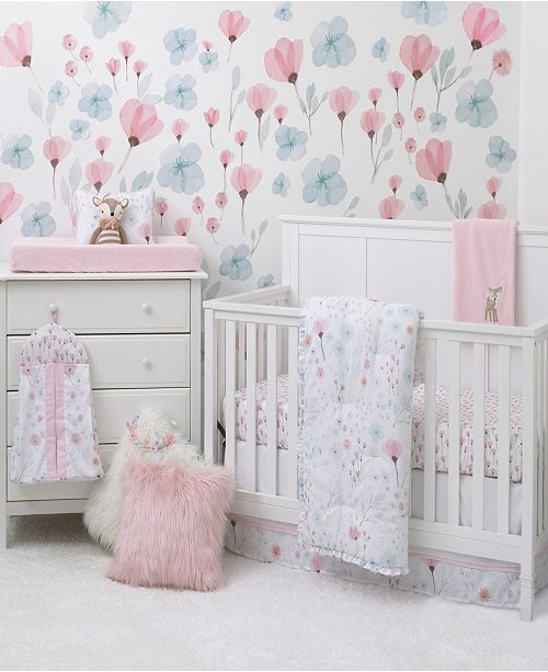 NoJo Lovely Watercolor Floral 8-Piece Crib Bedding Set