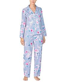 Women's Striped Floral-Print Pajama Set