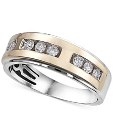 Men's Diamond Two-Tone Band (1/2 ct. t.w.) in 10k Gold & White Gold