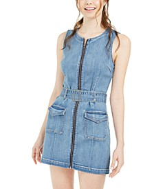 Juniors' Zip-Front Denim A-Line Dress