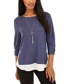 Juniors' Contrast-Hem Top