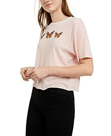 Juniors' Butterfly Cropped Graphic T-Shirt