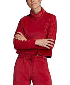 Women's Sport ID Velour Funnel-Neck Cropped Top