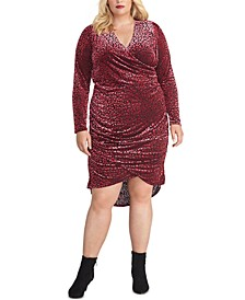 Trendy Plus Size Willa Leopard-Burnout Faux-Wrap Dress