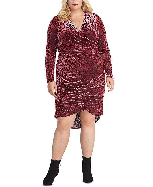 RACHEL Rachel Roy Plus Size Willa Leopard-Burnout Faux-Wrap Dress