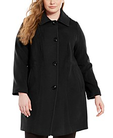 Plus Size Single-Breasted Club-Collar Coat