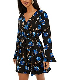 Juniors' Surplice Floral-Print Dress