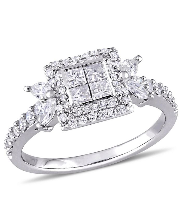 Macy's - Princess- Cut Diamond (1 ct. t.w.) Quad Halo Engagement Ring in 14k White Gold