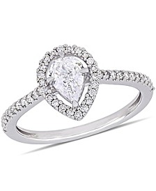 Pear-Cut Floating Certified Diamond (3/4 ct. t.w.) Halo Engagement Ring in 14k White Gold