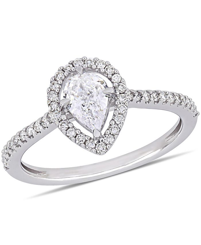 Macy's - Pear-Cut Floating Diamond (3/4 ct. t.w.) Halo Engagement Ring in 14k White Gold
