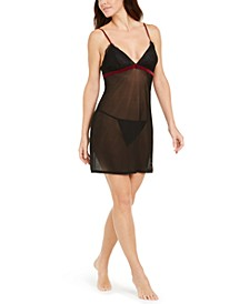 INC Lace Mesh Velvet Trim Chemise Nightgown & Thong, Created for Macy's