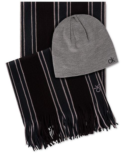 Calvin Klein Men's Striped Scarf & Beanie Set
