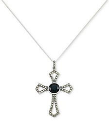 "Onyx Cross 18"" Pendant Necklace in Sterling Silver"