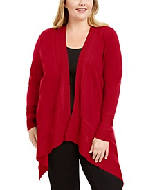 Plus Size Open-Front Asymmetrical Hem Cardigan