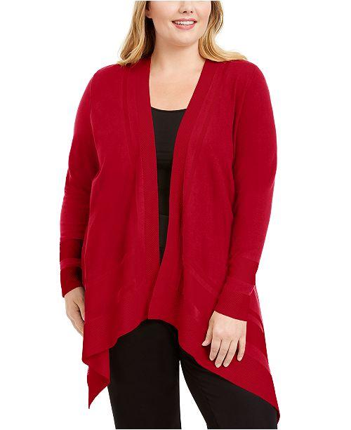 Anne Klein Plus Size Open-Front Asymmetrical Hem Cardigan