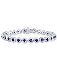 Sapphire (5-1/2 ct. t.w.) & Diamond (3 ct. t.w) Tennis Bracelet in 14k White Gold (Also in Certified Ruby and Emerald)