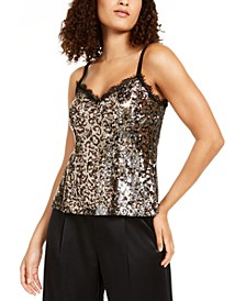 Leo Sequined Animal-Print Camisole, Created for Macy's