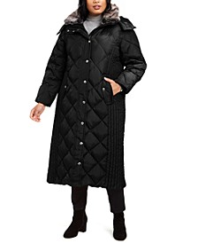 Plus Size Maxi Puffer Coat With Faux-Fur Trim