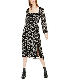 Daisy Print Smocked Midi Dress