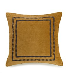 Asher Yarn Crewel Embriodered 18 Square Decorative Pillow