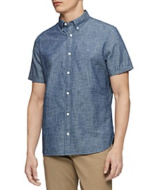 Men's Slim-Fit Chambray Short-Sleeve Shirt