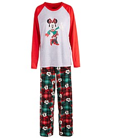 Women's 2-Pc. Minnie Mouse Plaid Pajama Set