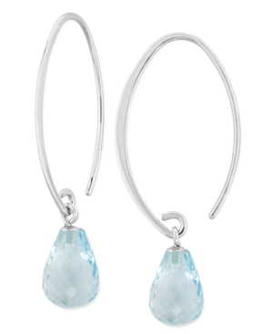 Blue Topaz Long Hoop Earrings (8-1/3 ct. t.w.) in 14k Gold (Also Available in Rhodolite Garnet