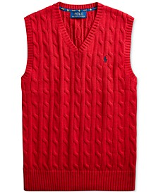 Big Boys Cable-Knit Cotton V-Neck Sweater Vest